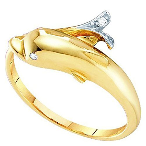 White Gold Dolphin Ring (0.03 Carat (ctw) 10K Yellow Gold Round Cut White Diamond Ladies Right Hand Dolphin Ring (Size 6.5))