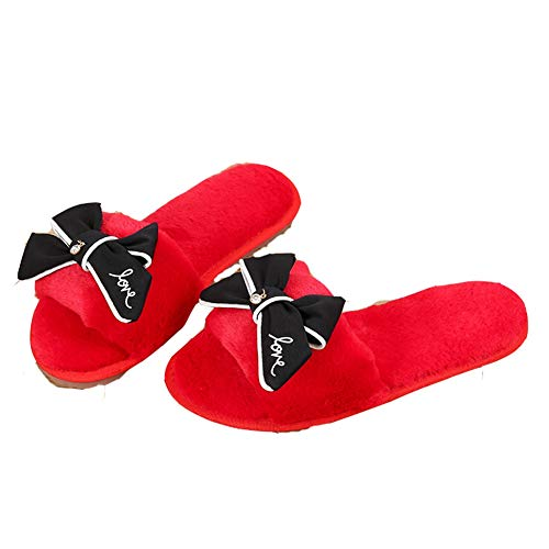 Sandals Winter Slip On Open Cozy Candy Red Color Slippers Indoor Fur Fashion Women's T JULY Toe Shoes Bowknot Faux wfP4q