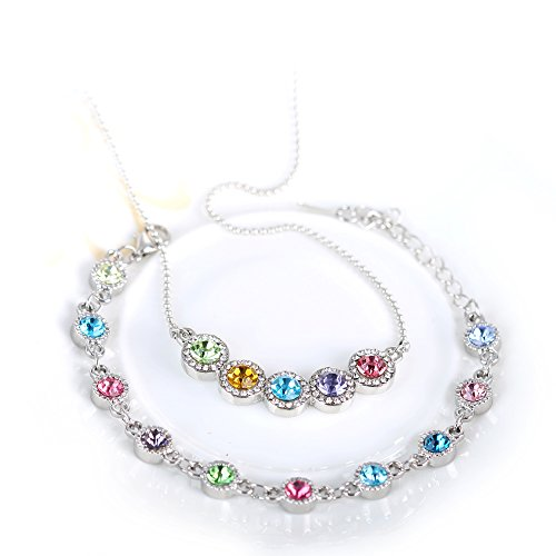 YIN E FANG Sweet Austrian Crystal Necklace Bracelets Fashion Jewelery Set -