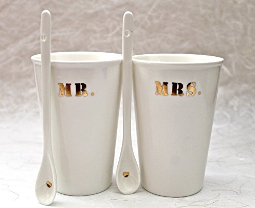 22k Gold Accents - Mr. and Mrs. Porcelain tall cup with spoon 22k gold accent- white ceramic cup with spoon- Mr and Mrs cups set and spoon