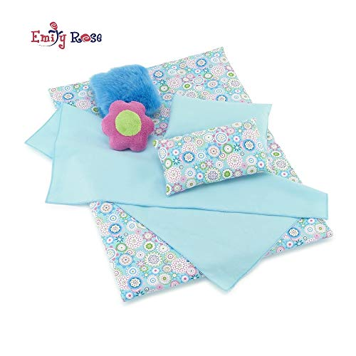 Emily Rose 18 Inch Doll Clothes for American Girl Doll | 6 Piece Reversible Doll Accessories Bedding Set with Comforter, 4 Pillows and Sheet | Fits 18