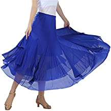 CISMARK Elegant Ballroom Dancing waltz Dance Party Long Swing Mesh Skirt