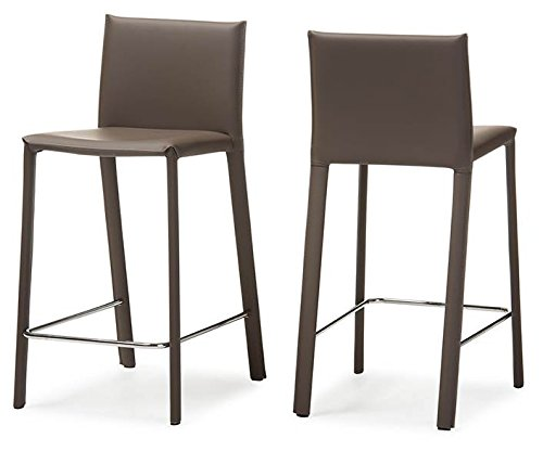 - Baxton Studio 2 Piece Crawford Modern and Contemporary Leather Upholstered Counter Height Stool, Taupe