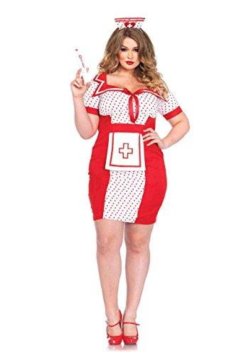 Leg Avenue Women's Plus-Size 2 Piece Bedside Betty Costume, Red/White, -