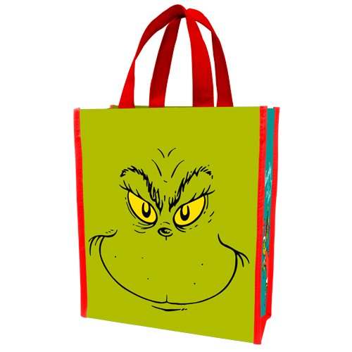 Vandor 17573 Dr. Seuss Grinch Naughty or Nice Small Recycled Shopper Tote, Green and Red -
