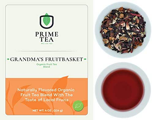 FRUIT TEA - 4 Ounce ≈ 50-60 Servings - Organic Vegan Natural Caffeine Free Loose Leaf Tisane Super Delicious Fruity Mix - Aroma Blast - Hot and Iced -