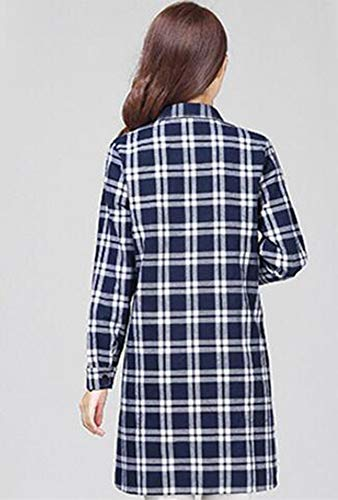 Chemise pour Femme de Coton Huateng Manches Base Bleu Blanc en Longues BwqCdUn
