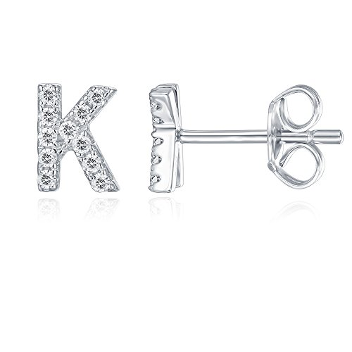 PAVOI 925 Sterling Silver CZ Simulated Diamond Stud Earrings Fashion Alphabet Letter Initial Earrings - K (Birthday Wishes For A 15 Year Old Niece)