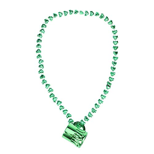 BESTOYARD Saint Patrick's Day Mug Beaded Necklace Plastic Cup Pendant Shamrock Necklaces Party Accessory (Green) ()