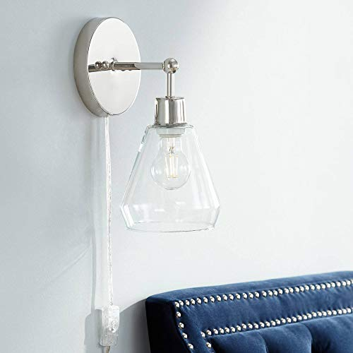 Leila Polished Nickel Glass Cone Shade Pin-Up Wall Lamp - 360 Lighting -