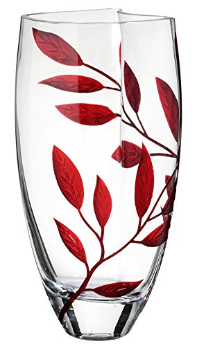 Elegant Handmade Glass Vase - Decorated with Sandblasted and Painted Red Leaves - Mouth Blown Lead Free Glass - Clear Unique Shape Vase - Decorative Centerpiece - 11.4 inch (29 cm)