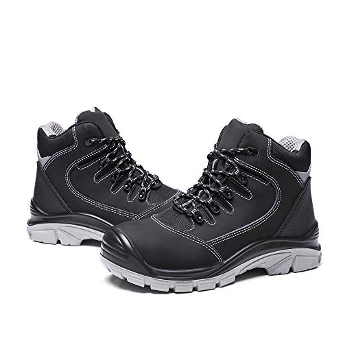DRKA Men's Steel Toe Work Boots Water Resistant Safety Shoes(18950-blk-44)