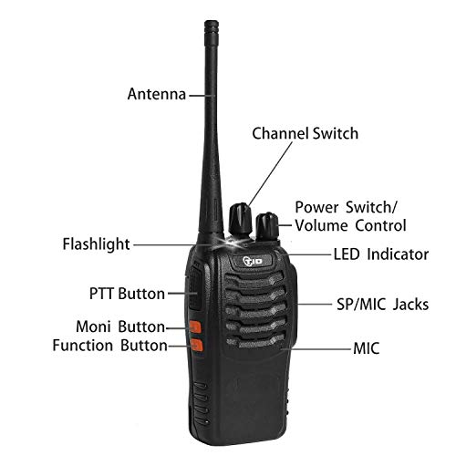 2 Way Radio Rechargeable Two Way Radio UHF FRS 2Way Radios Walkie Talkies Long Range Walkie Talkies for Adults with Air Acoustic Earpiece (6 Pack)