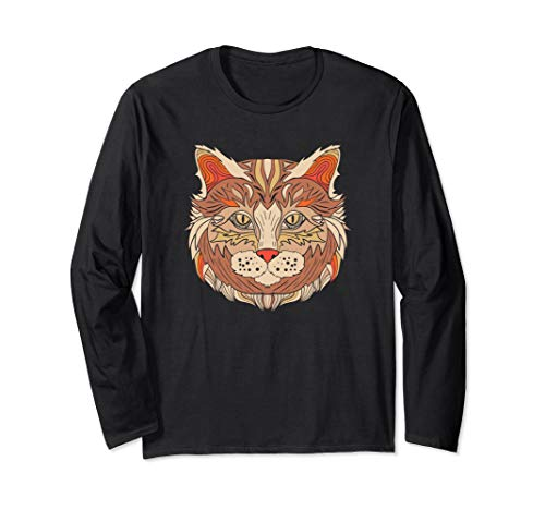Cool Tabby Cat Face Artistic Graphic Long Sleeve Tee