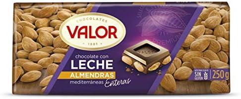 Chocolates Valor - Choholate con leche y almendras enteras - 250 g ...