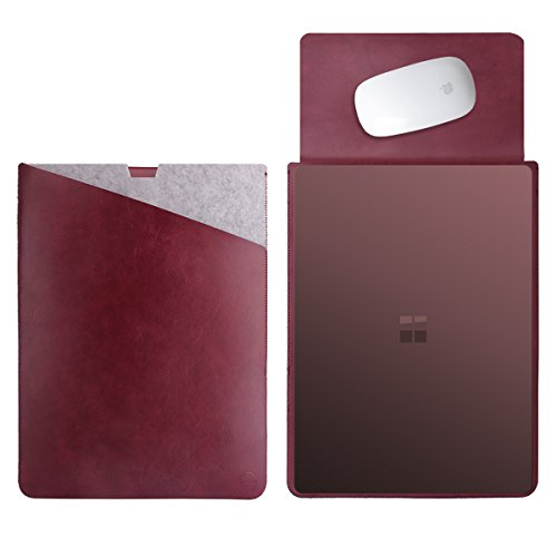 WALNEW 13.5 Sleeve for 13.5 Inch Microsoft Surface Laptop 1/2/3(2017 & 2018 & 2019 Released) Protective Soft Sleeve Case Cover Bag with Safe Interior and Exterior Mouse Pad, Wine Red
