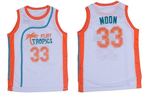 Jackie Moon #33 Flint Tropics Semi Pro Movie Retro Throwback Basketball Jersey Embroidery S-XL (X-Large, White)