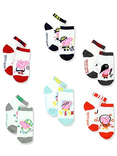 Peppa Pig George Boys 6 pack Socks (4-6 Toddler (Shoe: 7-10), White/Multi Quarter) for $<!--$12.99-->