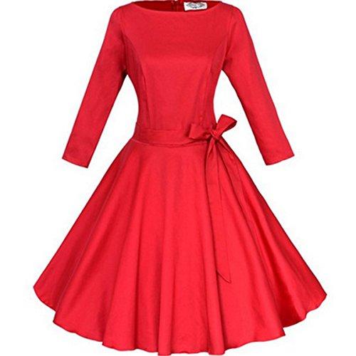 LOBTY Damen 3 4 Arm Kleider Dress 50er Jahre Vintage-Kleid Hepburn  Rockabilly Knielang 4f4d611e99