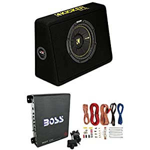 "New Kicker 44TCWC102 10"" 600W Subwoofer + Box + Boss R1100M 1100W Amp + Amp Kit"