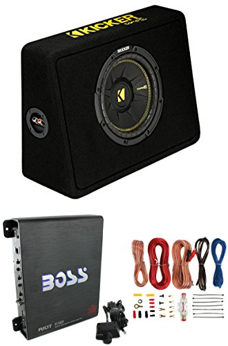 "New Kicker 40TCWS102 10"" 600W Subwoofer + Box + Boss R1100M 1100W Amp + Amp Kit"