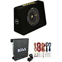 New Kicker 44TCWC102 10 600W Subwoofer + Box + Boss R1100M 1100W Amp + Amp Kit