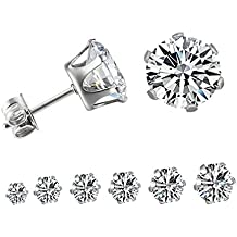 OREOLLE Jewelry Women Stainless Steel Stud Earrings with Round Clear Cubic Zirconia and Fashion (6 Pairs)