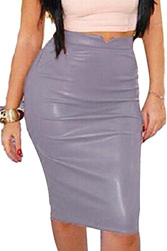 Prograce Womens Slim Fit Bandage Bodycon Stretchy Midi Length PU Winter Skirt Grey S