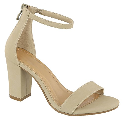 TOP Moda Hannah-1 Women's Fashion Ankle Strap Evening Dress High Heel Sandal Shoes (8.5 B(M) US, Beige) ()