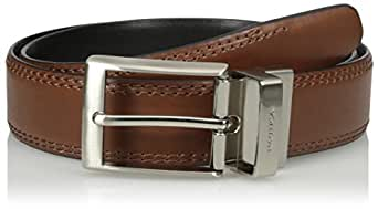 Nautica mens 1 3/8 In. Saddle-leather Reversible Belt Belt - multi -