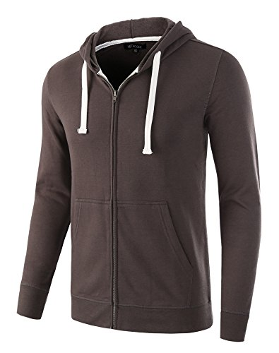 HETHCODE Mens Casual Fashion Zip Up Long Sleeve Pocket Hoodie Sweatshirt Jacket Charcoal L -