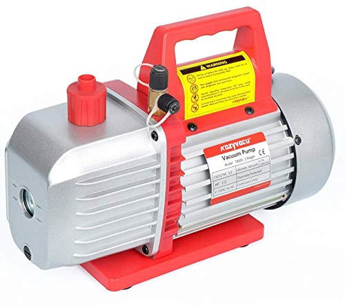 Kozyvacu 5CFM 2-Stage Rotary Vane Vacuum Pump (5.0CFM, 40Micron, 1/2HP) for HVAC/Auto AC Refrigerant Recharging, Degassing wine or epoxy, Milking cow or lamb, Medical, Food processing etc. ()