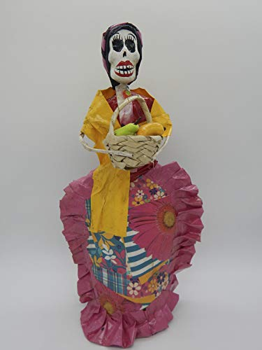 Paper Mache Halloween Decorations (COLOR Y TRADICIÓN Mexican Catrina Doll Day of Dead Skeleton Paper Mache Dia de Los Muertos Skull Folk Art Halloween Decoration Fruit Seller #)