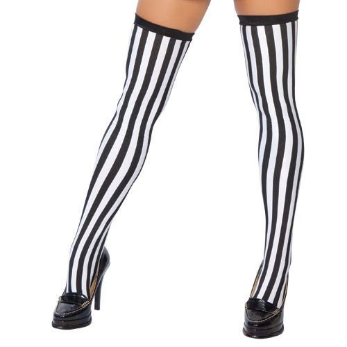 Referee Costume Accessories (Roma Costume Referee Stockings Costume, Black/White, One Size)