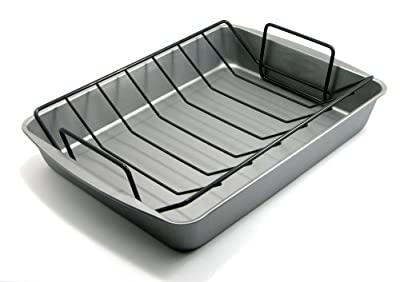 OvenStuff Non-Stick Large Roasting Pan with Rack - DuraGlide Non-Stick Roasting Pan with Handles for Easy Lifting, Easy to Clean