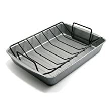 G&S Metal Products OvenStuff Non-Stick 17.2 by 12.7 by 2.7-Inch Large Roasting Pan with Rack