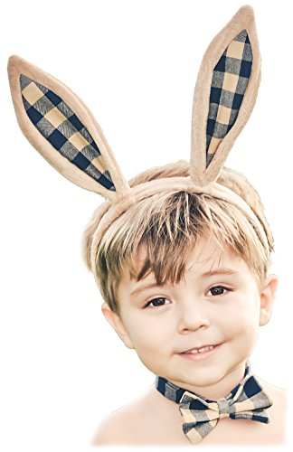 Plaid Bunny Rabbit Ears Set with Matching Bow Tie Baby Toddler Boy Cosplay