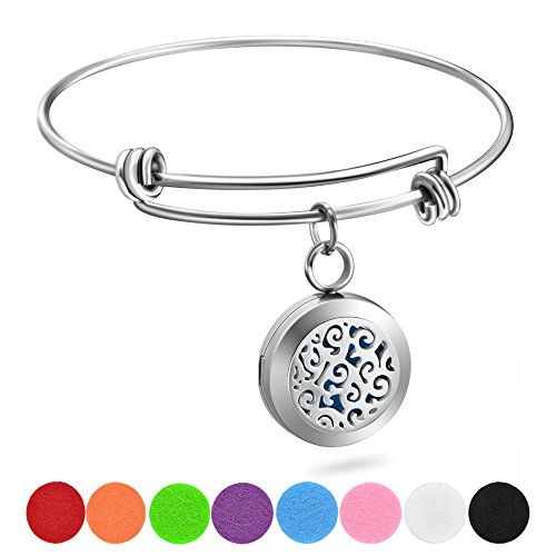 Essential Oil Diffuser Wire Bangle Bracelet, Stainless Steel