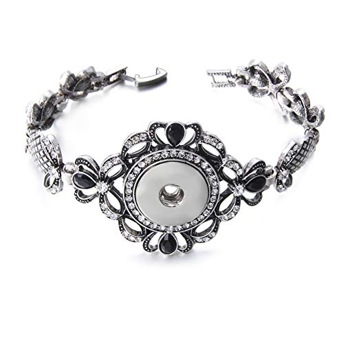- Royalbeier Vintage Bangle Charm Metal Snap Button Link Bracelet Crystal Flower Heart Filigree Bracelet for Girls ... (SZ0527)