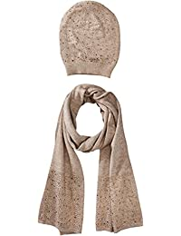 Women's Matching Embellished Scarf and Hat Set