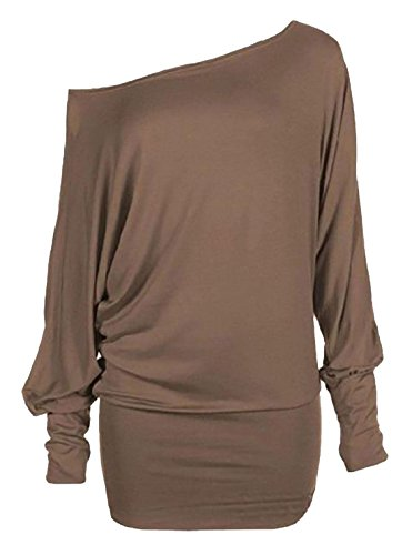 Donna Tee 4 Style Sleeve Shoulder 3 Mocha Drop dimensioni Loose Varie tXSq5wqn