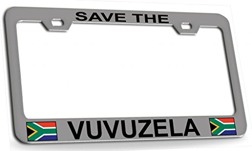 SAVE THE VUVUZELA South African Steel Metal License Plate Frame Ch Bl]()