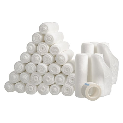 36 Gauze Bandage Rolls with Medical Tape, Rolled Gauze Stretch Bandage, 4