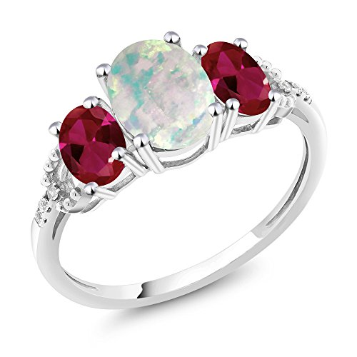 Gem Stone King 10K White Gold Diamond Accent Three-Stone Engagement Ring set with 2.10 Ct Cabochon Simulated Opal & Red Created Ruby (Size ()