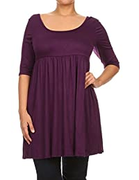 Womens Plus Size Solid Knit Baby Doll Mini Short Dress Made In USA
