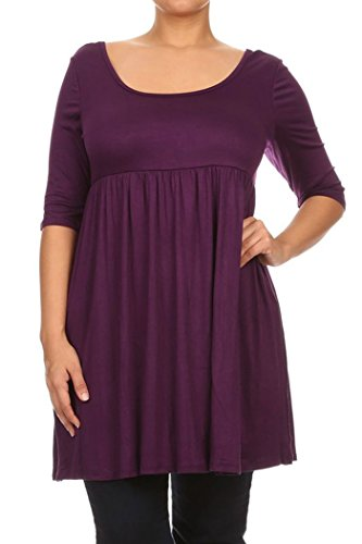 Knit Baby Doll Dress - Womens Plus Size Solid Knit Baby Doll Mini Short Dress Made in USA (1X, Purple)