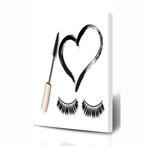 Ahawoso Canvas Prints Wall Art 8x10 Inches Eyelash False Eyelashes Mascara Brush Black Girl Eyeliner Heart Stroke Makeup Paint Design Visage Wooden Frame Printing Home Living Room Office Bedroom