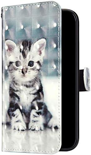 Uposao Kompatibel mit Samsung Galaxy A70 Hülle Leder Handyhülle Glänzend Glitzer Bling Bunt Muster Wallet Hülle Klapphülle Brieftasche Schutzhülle Flip Case Magnet Kartenfach,Cute Katze