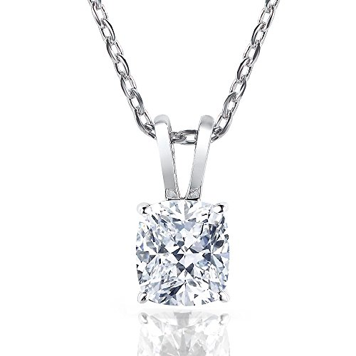 DovEggs Platinum Plated Silver 2ct H-I Color Cushion Cut Moissanite Solitaire Pendant Necklace With COMPLIMENTARY 18