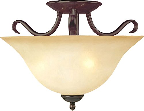 x 2-Light Semi-Flush Mount, Oil Rubbed Bronze Finish, Wilshire Glass, MB Incandescent Incandescent Bulb , 60W Max., Dry Safety Rating, Standard Dimmable, Linen Fabric Shade Material, Rated Lumens (Maxim Iron Chandelier)